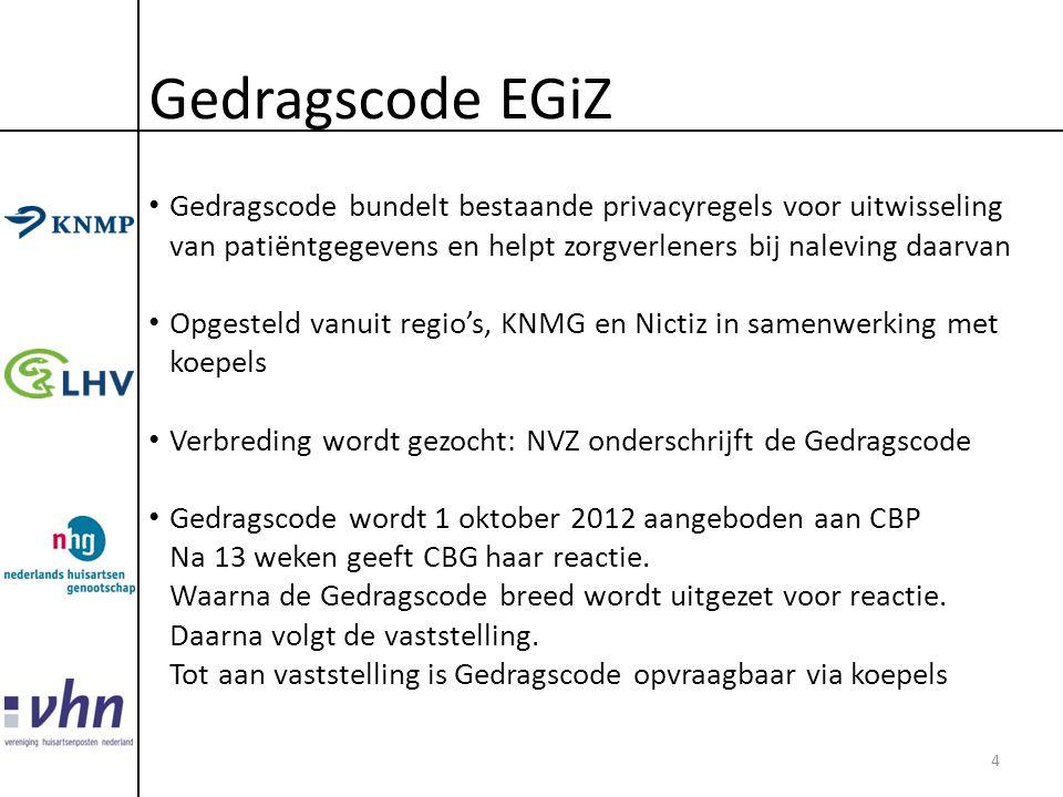 Gedragscode EGiZ Gedragscode bundelt bestaande privacyregels voor uitwisseling van patiëntgegevens en helpt zorgverleners bij naleving daarvan.