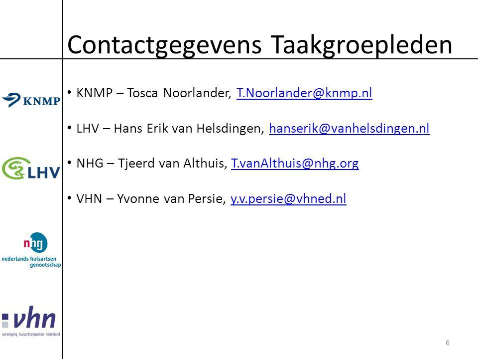 Contactgegevens Taakgroepleden