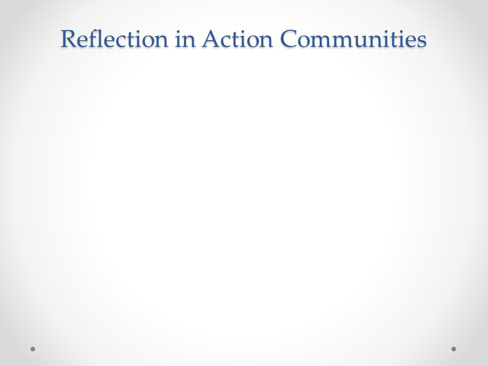 Reflection in Action Communities