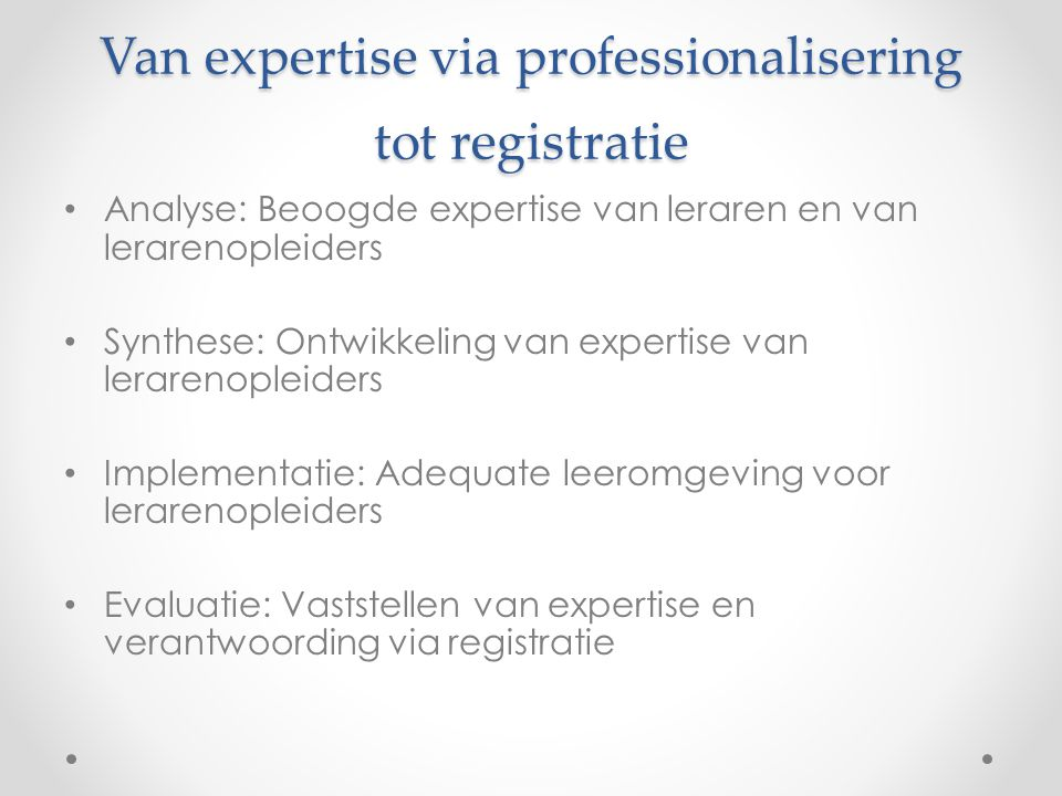 Van expertise via professionalisering tot registratie