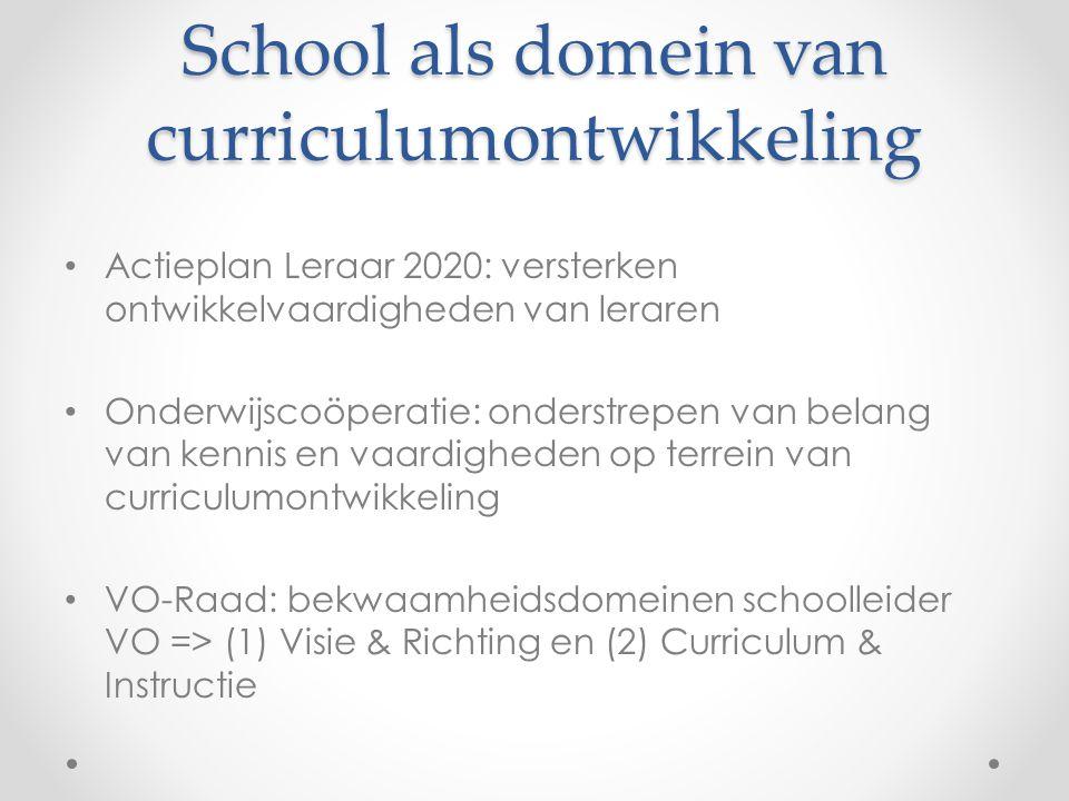 School als domein van curriculumontwikkeling