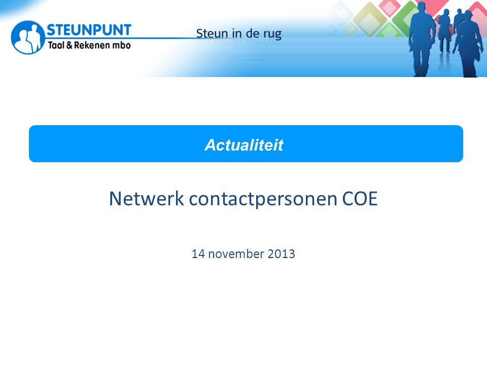 Netwerk contactpersonen COE 14 november 2013