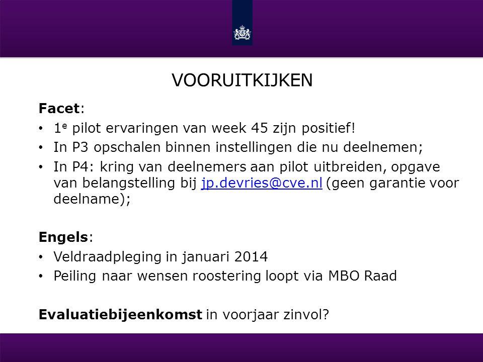 vooruitkijken Facet: 1e pilot ervaringen van week 45 zijn positief!