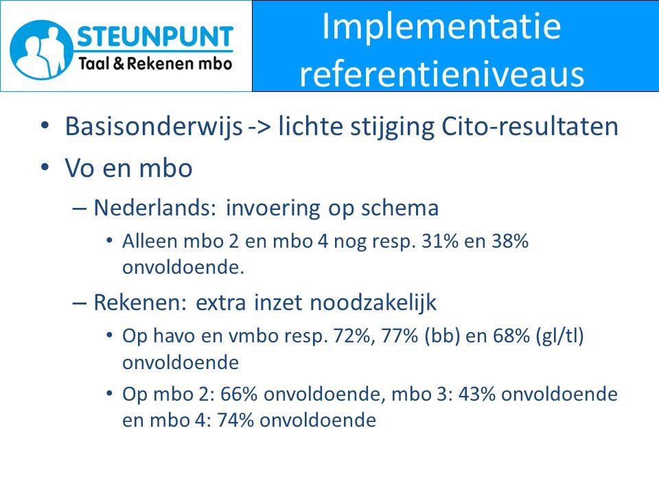 Implementatie referentieniveaus