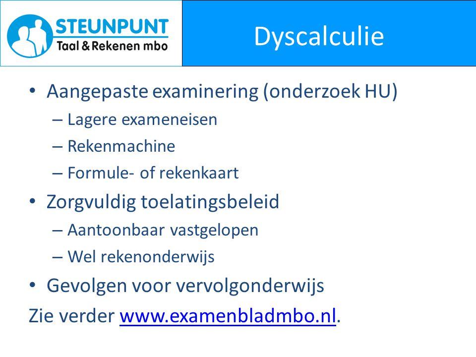 Dyscalculie Aangepaste examinering (onderzoek HU)
