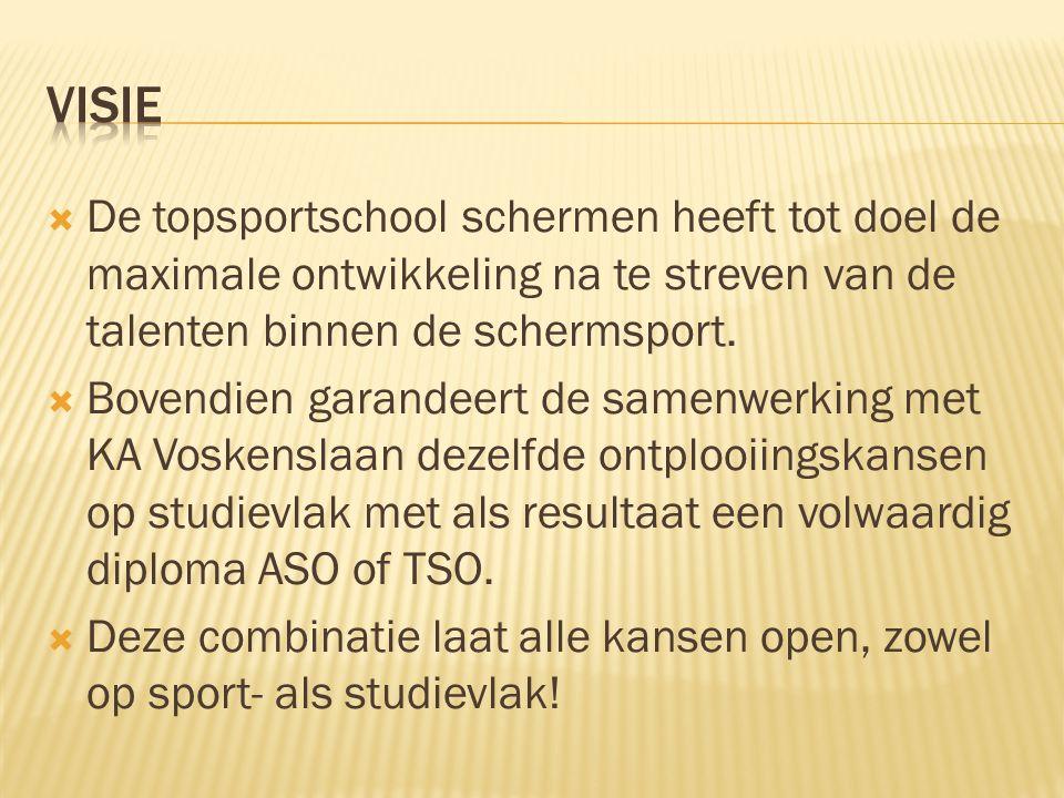 Visie De topsportschool schermen heeft tot doel de maximale ontwikkeling na te streven van de talenten binnen de schermsport.