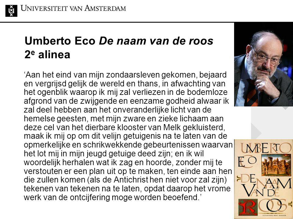 Umberto Eco De naam van de roos 2e alinea
