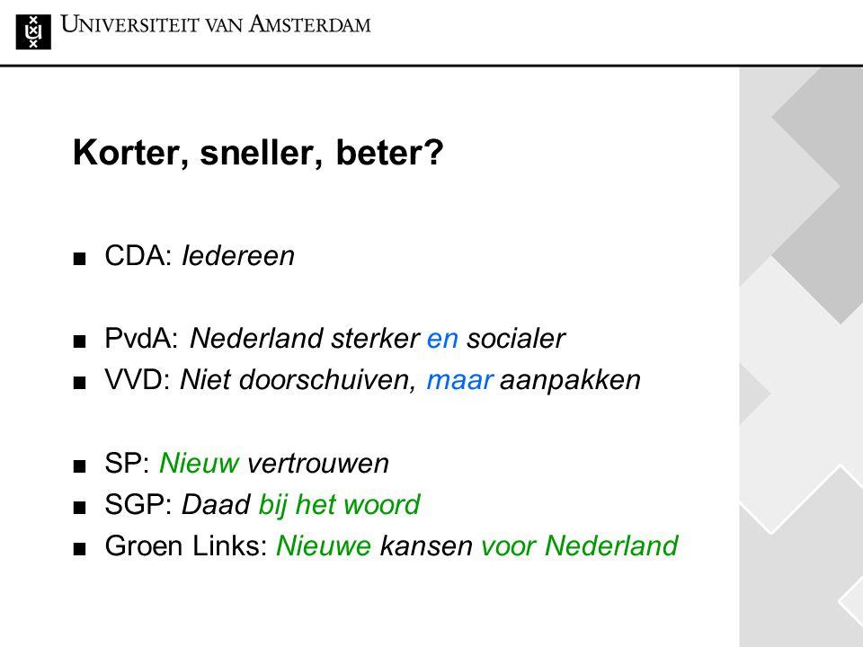 Korter, sneller, beter CDA: Iedereen