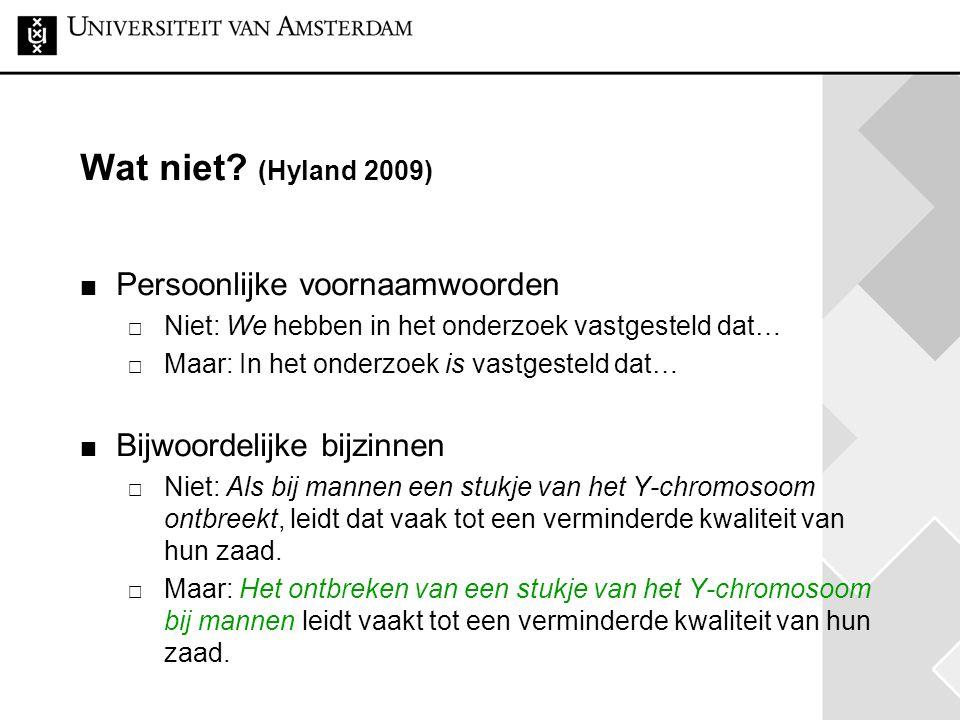 Wat niet (Hyland 2009) Persoonlijke voornaamwoorden
