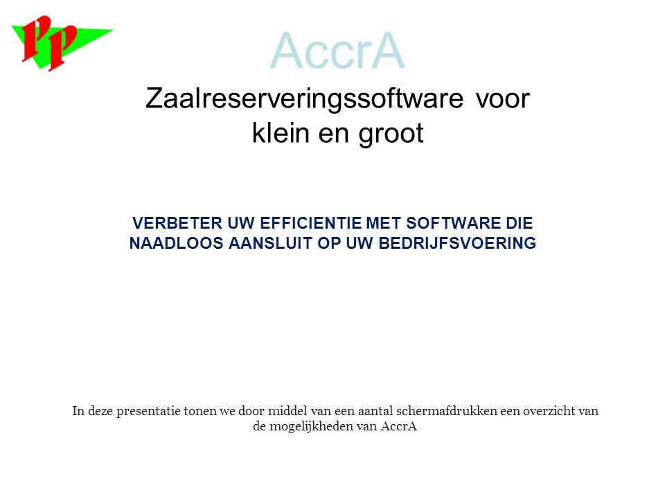AccrA Zaalreserveringssoftware voor klein en groot