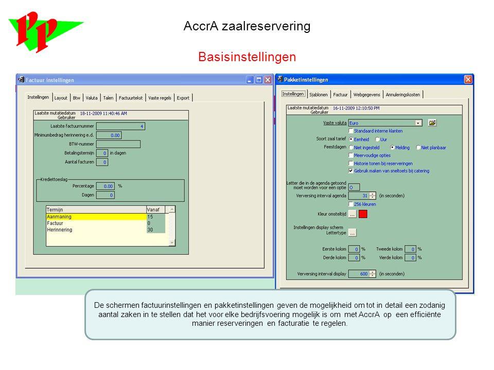 AccrA zaalreservering Basisinstellingen