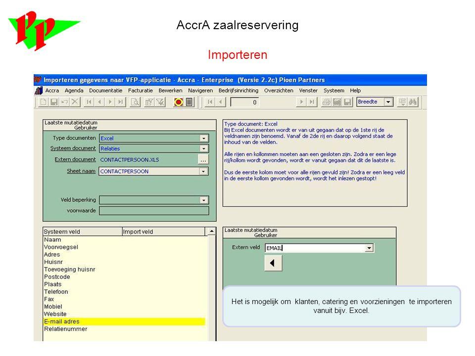 AccrA zaalreservering Importeren