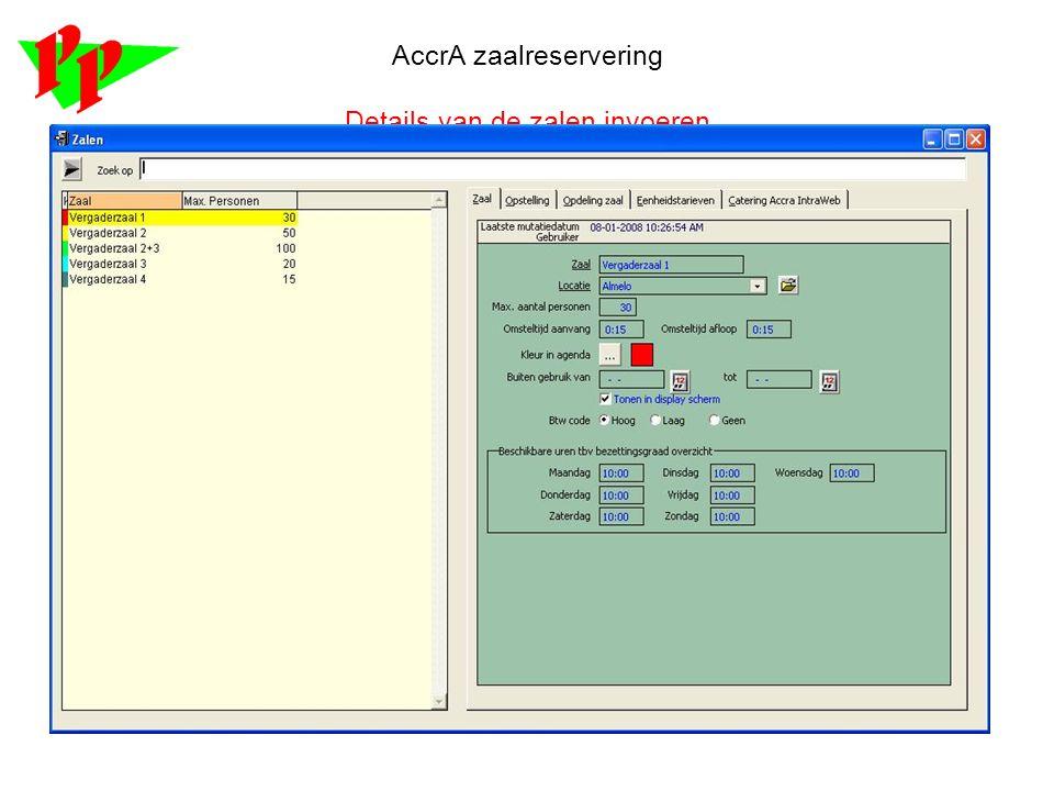 AccrA zaalreservering Details van de zalen invoeren
