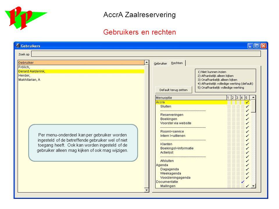 AccrA Zaalreservering Gebruikers en rechten