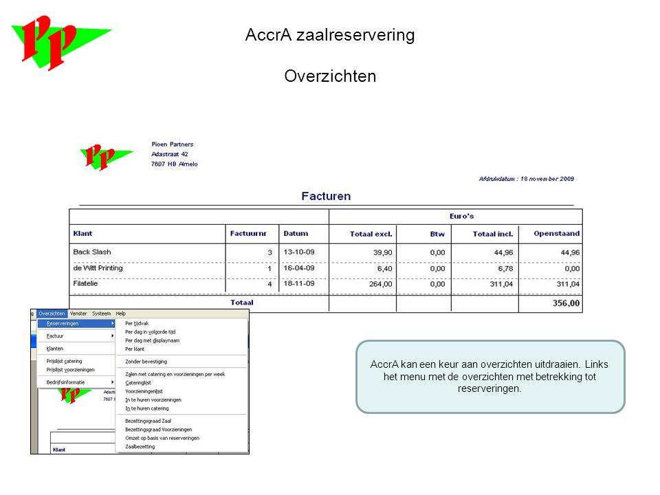 AccrA zaalreservering Overzichten