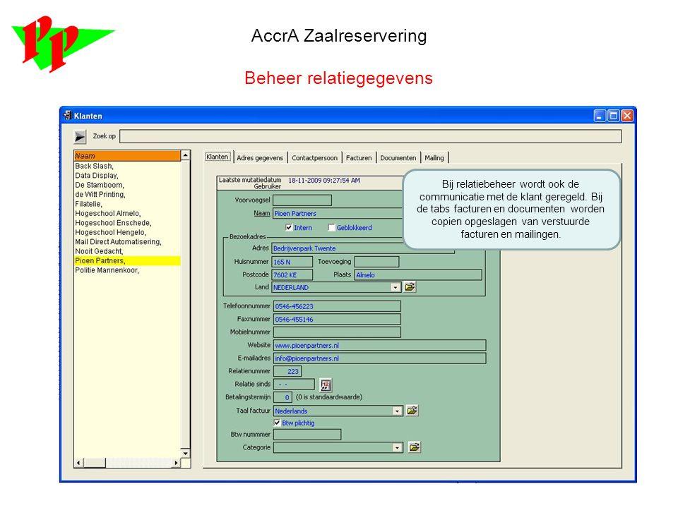 AccrA Zaalreservering Beheer relatiegegevens