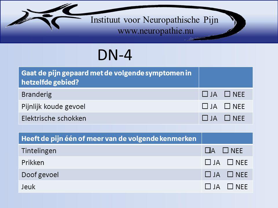 DN-4 Gaat de pijn gepaard met de volgende symptomen in hetzelfde gebied Branderig.  JA  NEE.