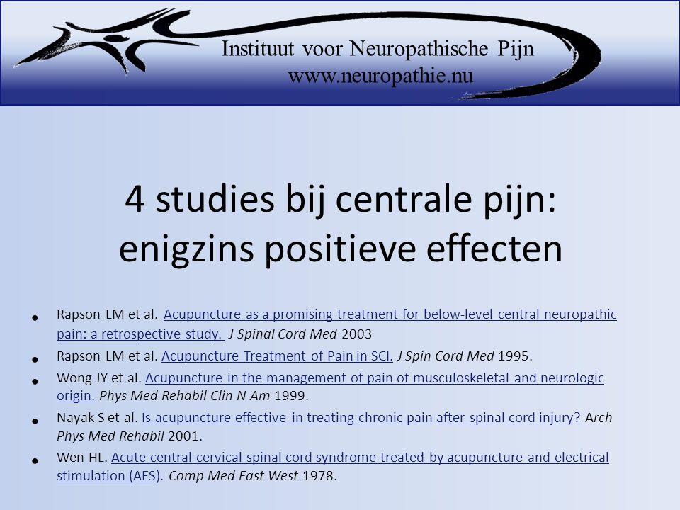 4 studies bij centrale pijn: enigzins positieve effecten