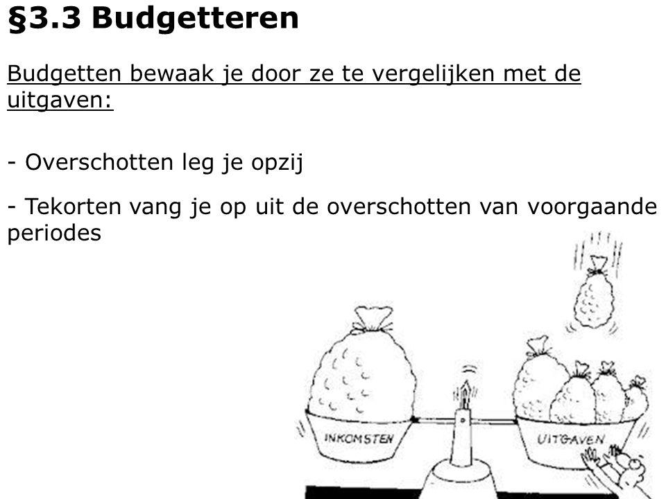 §3.3 Budgetteren Budgetten bewaak je door ze te vergelijken met de uitgaven: - Overschotten leg je opzij.