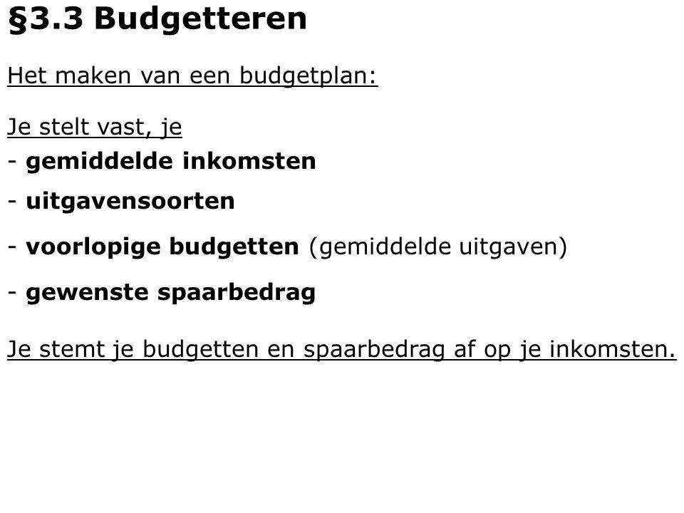 Je stemt je budgetten en spaarbedrag af op je inkomsten.
