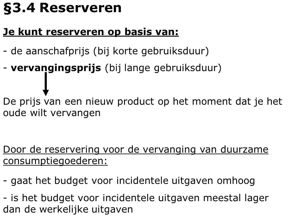 §3.4 Reserveren Je kunt reserveren op basis van: