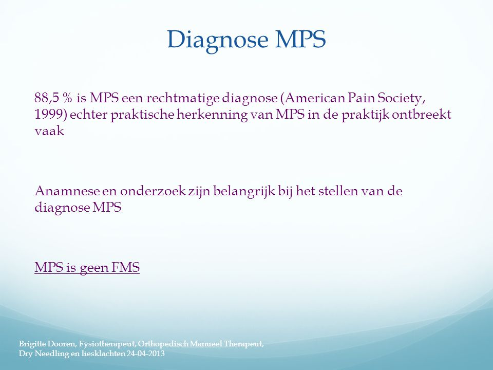 Diagnose MPS