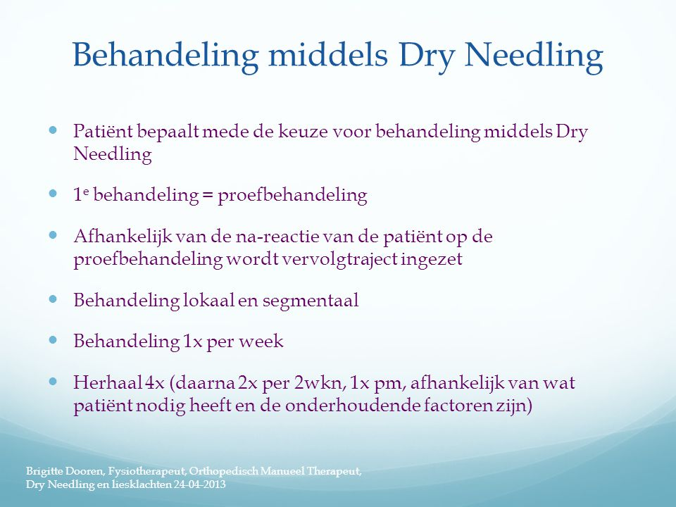 Behandeling middels Dry Needling