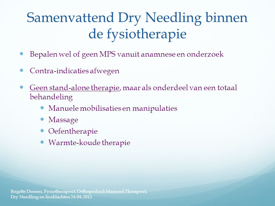 Samenvattend Dry Needling binnen de fysiotherapie