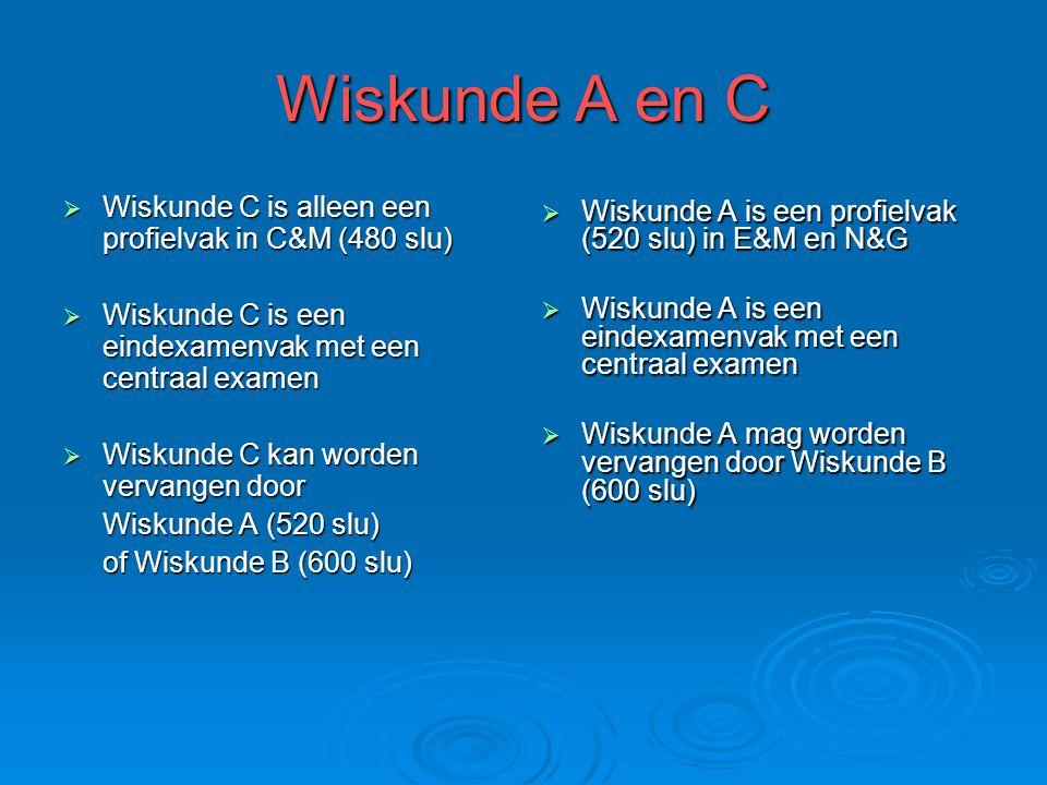Wiskunde A en C Wiskunde C is alleen een profielvak in C&M (480 slu)