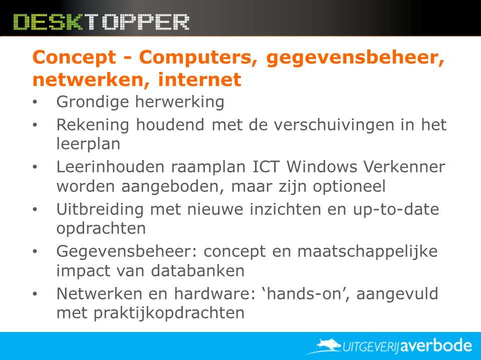 Concept - Computers, gegevensbeheer, netwerken, internet
