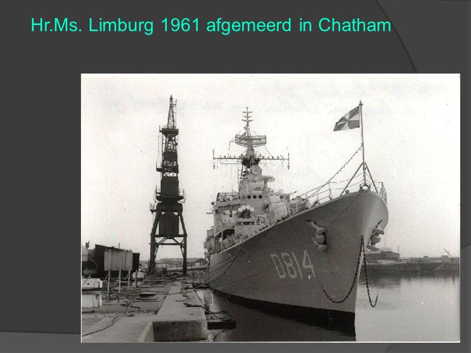 Hr.Ms. Limburg 1961 afgemeerd in Chatham