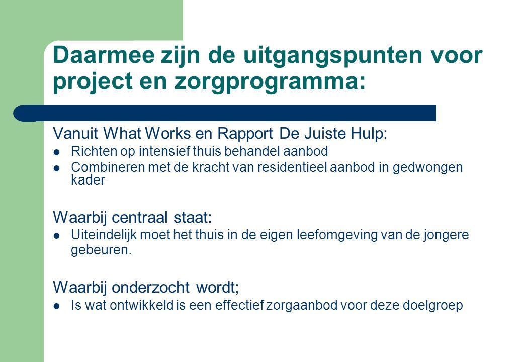 Daarmee zijn de uitgangspunten voor project en zorgprogramma: