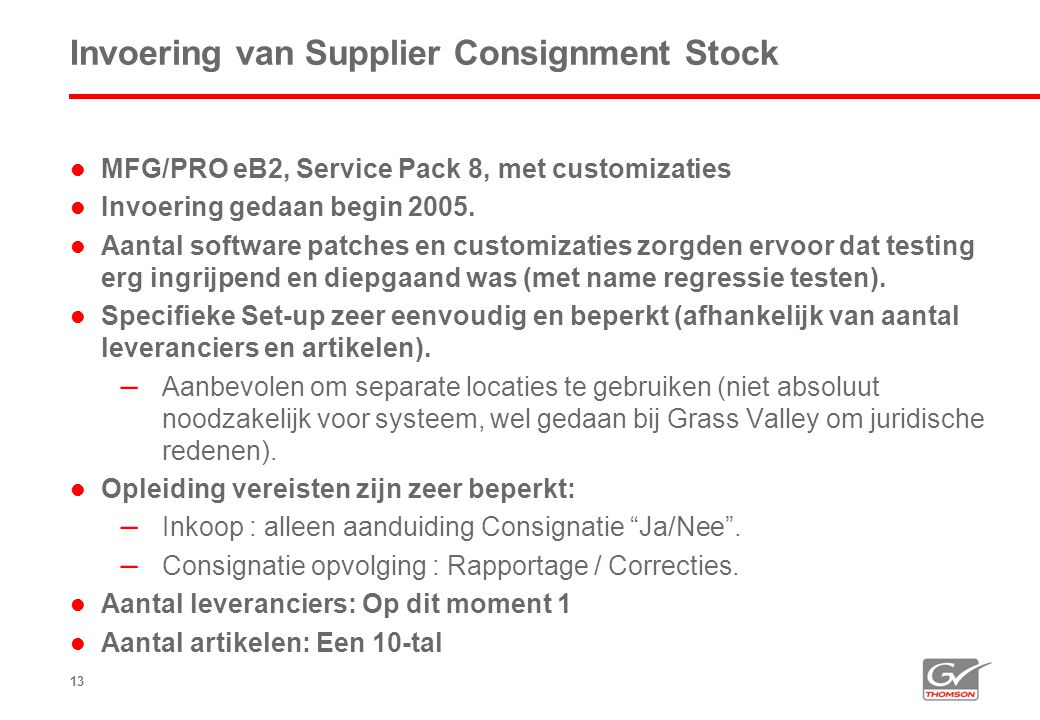 Invoering van Supplier Consignment Stock