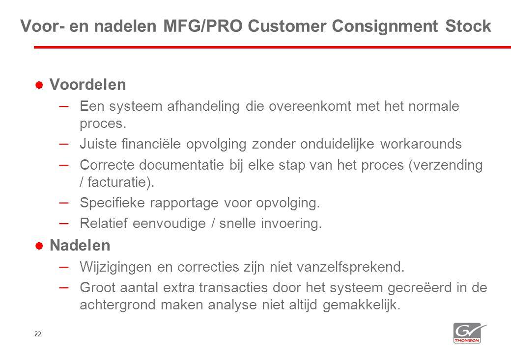 Voor- en nadelen MFG/PRO Customer Consignment Stock