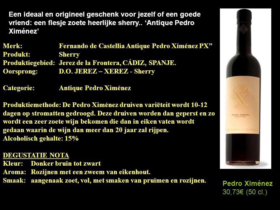 Een ideaal en origineel geschenk voor jezelf of een goede vriend: een flesje zoete heerlijke sherry.. 'Antique Pedro Ximénez'