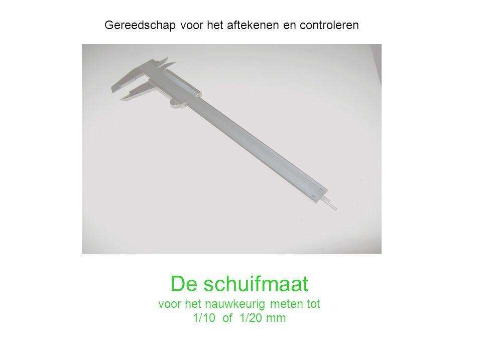 De schuifmaat voor het nauwkeurig meten tot 1/10 of 1/20 mm