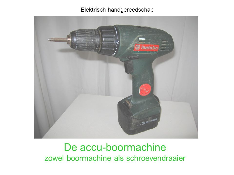 De accu-boormachine zowel boormachine als schroevendraaier