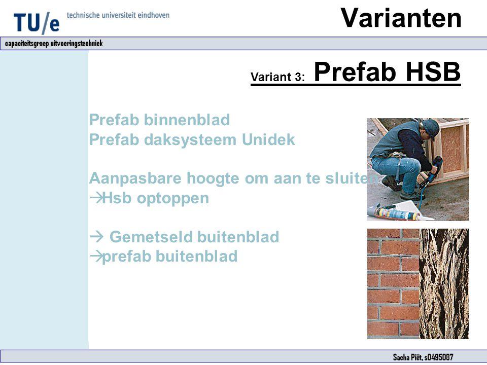 Varianten Prefab binnenblad Prefab daksysteem Unidek