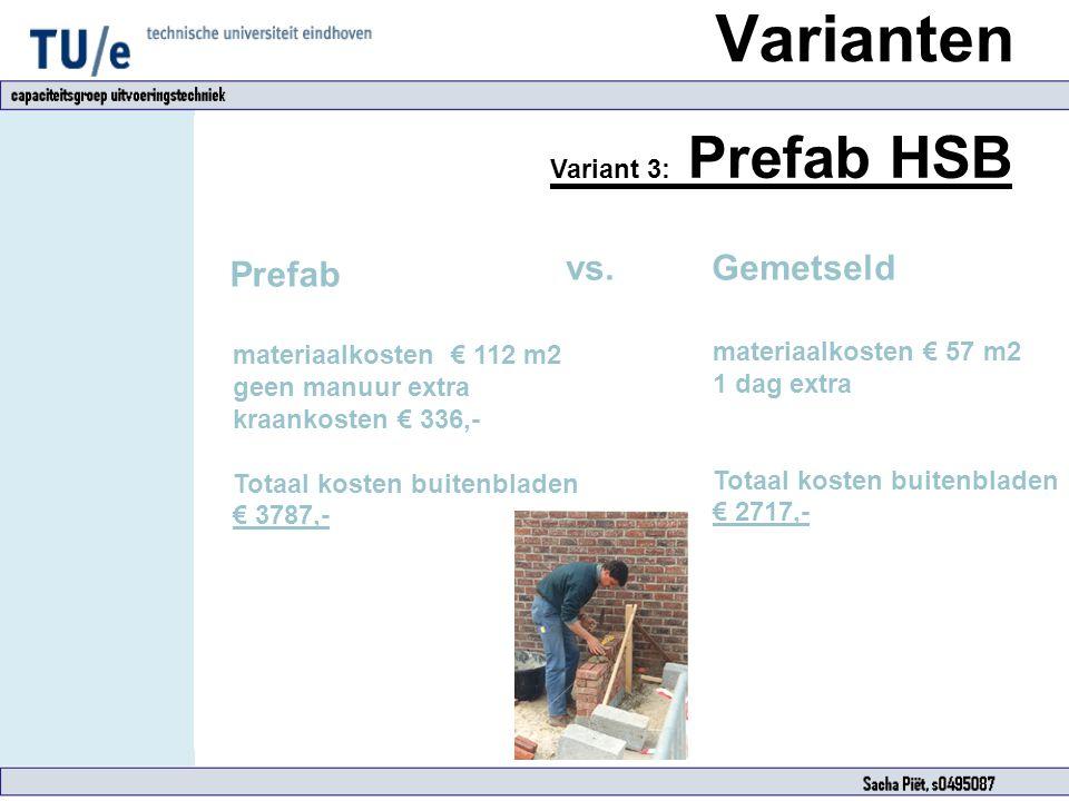 Varianten vs. Gemetseld Prefab Variant 3: Prefab HSB