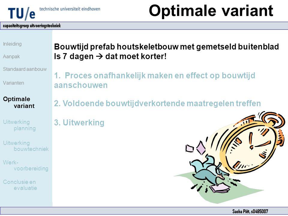 Optimale variant Inleiding. Aanpak. Standaard aanbouw. Varianten. Optimale variant. Uitwerking planning.