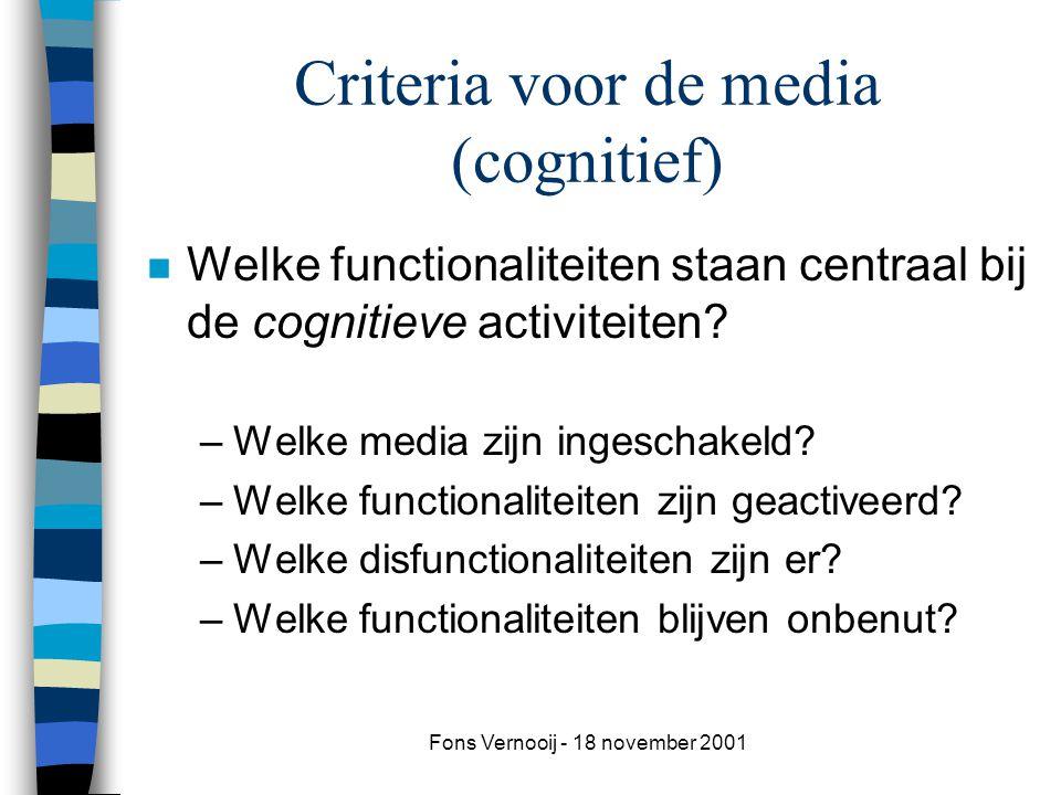 Criteria voor de media (cognitief)