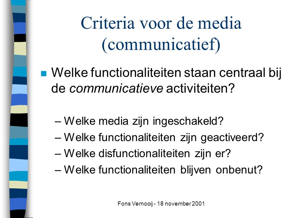 Criteria voor de media (communicatief)