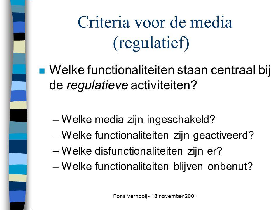 Criteria voor de media (regulatief)