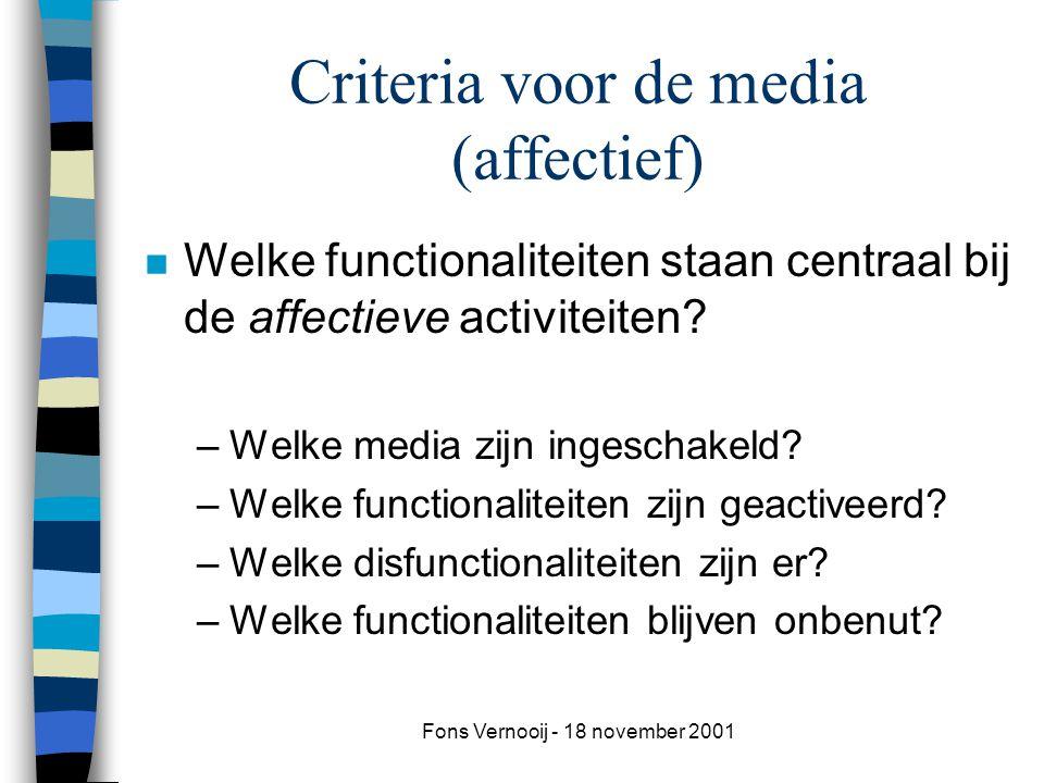 Criteria voor de media (affectief)