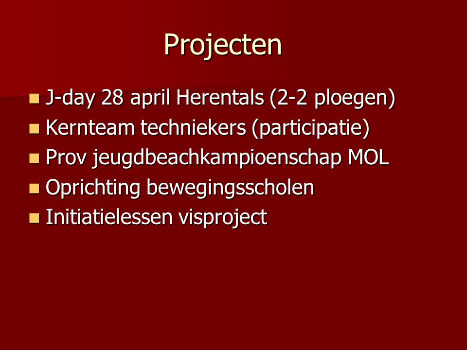 Projecten J-day 28 april Herentals (2-2 ploegen)