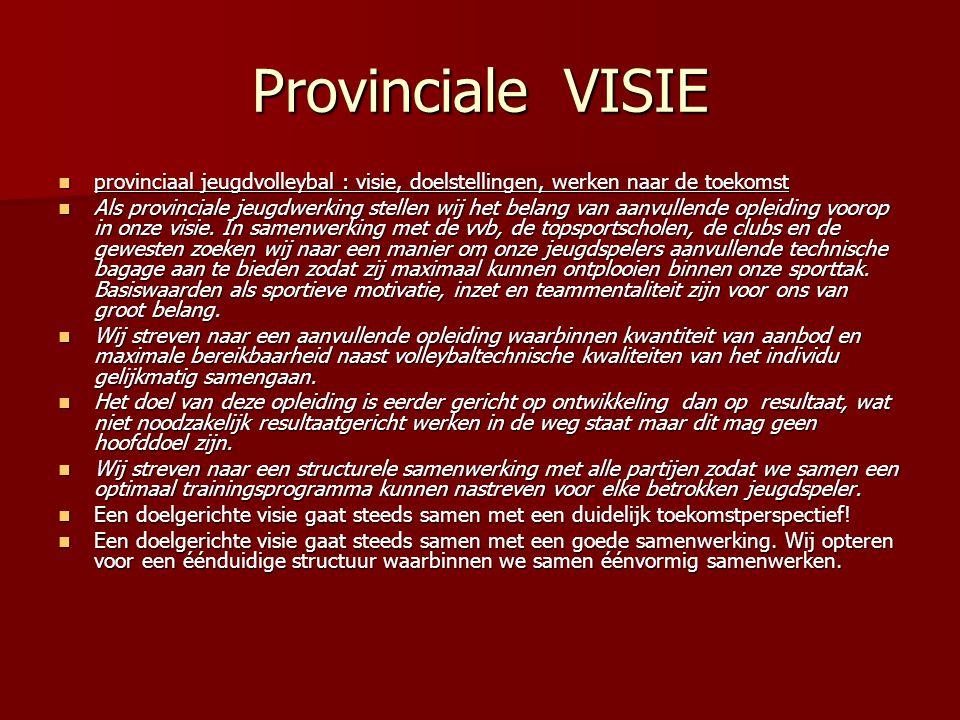 Provinciale VISIE provinciaal jeugdvolleybal : visie, doelstellingen, werken naar de toekomst.