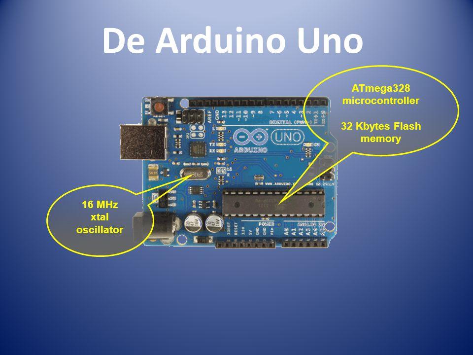 De Arduino Uno ATmega328 microcontroller 32 Kbytes Flash memory 16 MHz