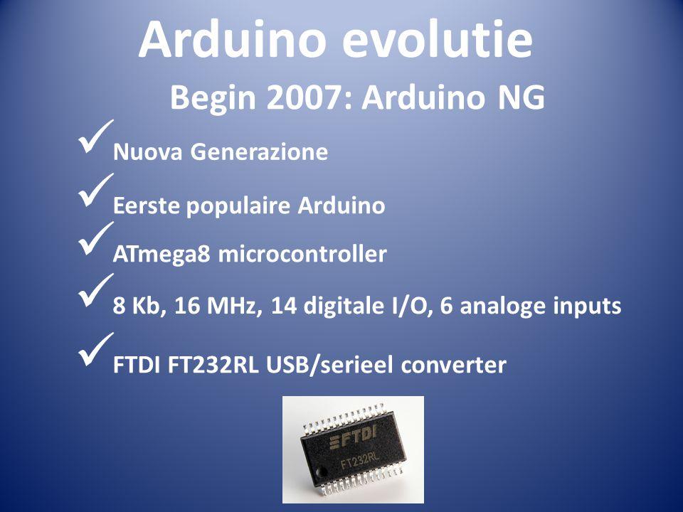 Arduino evolutie Nuova Generazione Eerste populaire Arduino