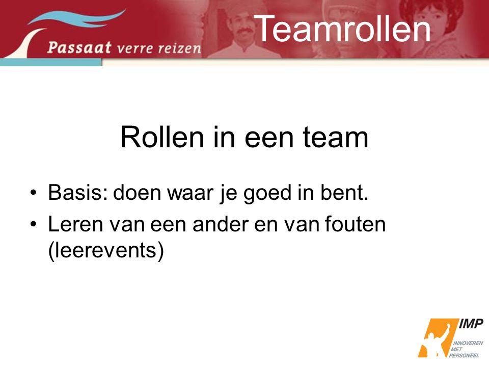 Teamrollen Rollen in een team Basis: doen waar je goed in bent.