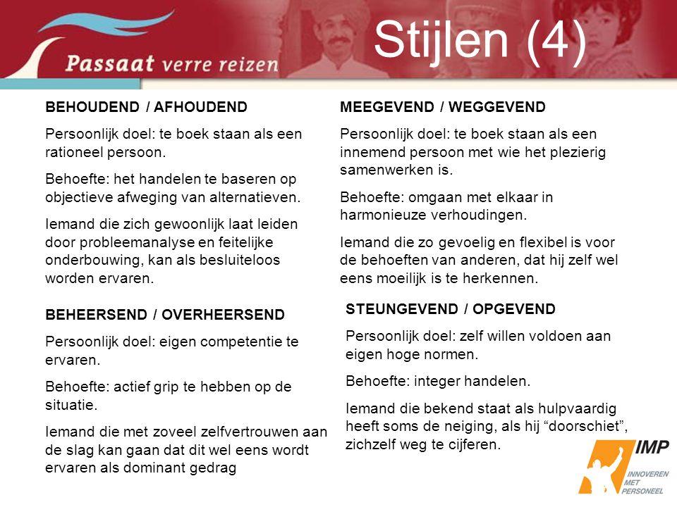 Stijlen (4) BEHOUDEND / AFHOUDEND